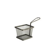 Click for a bigger picture.Black Serving Fry Basket Rectangular 10 x 8 x 7.5cm