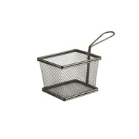 Click for a bigger picture.Black Serving Fry Basket Rectangular 12.5 x 10 x 8.5cm