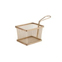 Click for a bigger picture.Copper Serving Fry Basket Rectangular 12.5 x 10 x 8.5cm